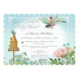 Baby Shower Fairy Garden Bees Dragonfly Rose Art