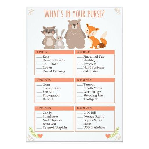 Baby Shower Game Whats in Your Purse Woodland
