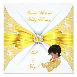 Baby Shower Gender Reveal Yellow Girl Boy Bunny AM