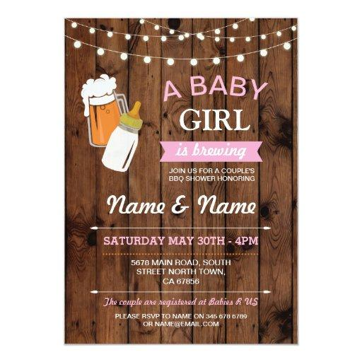 Girl Brewing Beer Pink BBQ Wood Invite