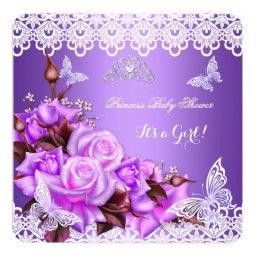 Baby Shower Girl Butterfly Purple Pink Lilac Roses
