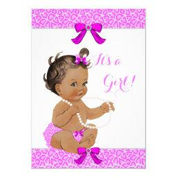 Baby Shower Girl Hot Pink Leopard Pearls Brunette