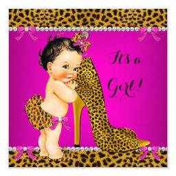 Baby Shower Girl Leopard High Heel Pink Brunette