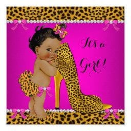 Baby Shower Girl Leopard High Heel Pink Ethnic