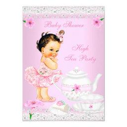 Baby Shower Girl Pink High Tea Party Brunette
