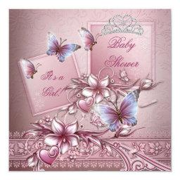 Baby Shower Girl Pink Princess Butterfly