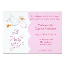 Baby Shower Girl Pink Stork