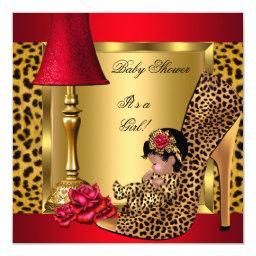 Baby Shower Girl Red Gold Roses Leopard Shoe AA