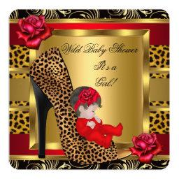 Baby Shower Girl Red Roses Gold Wild Leopard 3a