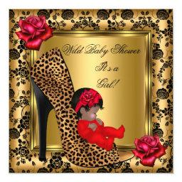 Baby Shower Girl Red Roses Gold Wild Leopard 4