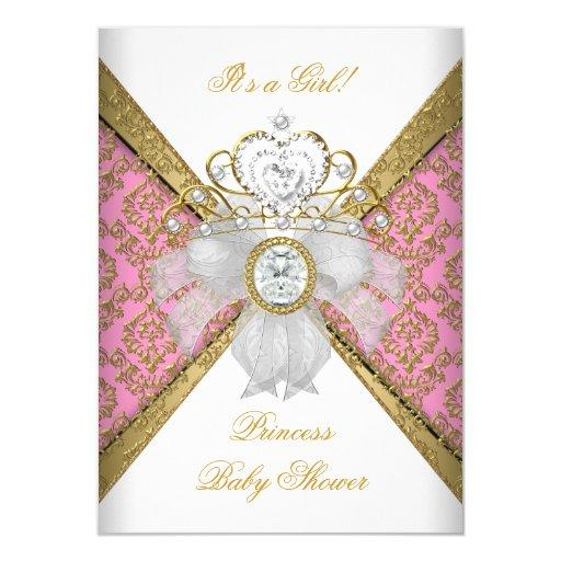 Baby Shower Girl White Pink Princess Damask Invitations