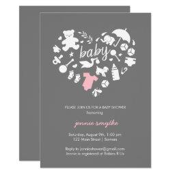 Baby Shower Invitation-Baby Icon Heart-Pink/Grey