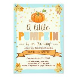 invite Little Pumpkin Blue Boy Fall