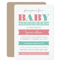 INVITE modern gender reveal coral mint