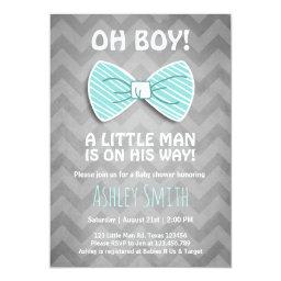 Baby Shower Little Man  Bow Tie Blue