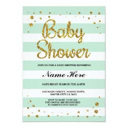 Mint Stripe Gold Glitter Girl Invite