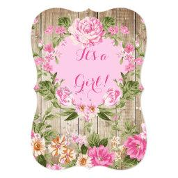 Pink Floral Rustic Wood Girl