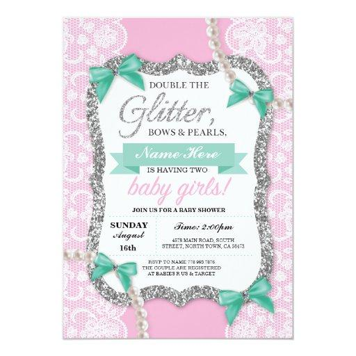 Pink Glitter Bow Twins Girls Invite