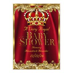 Baby Shower Royal Regal Red Gold Crown