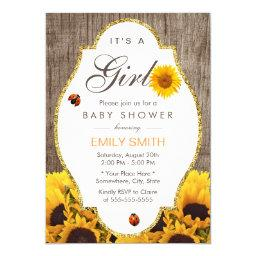 Baby Shower Rustic Sunflower Ladybug Country Girl