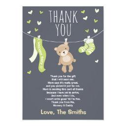 Thank You  Teddy Bear Lime green