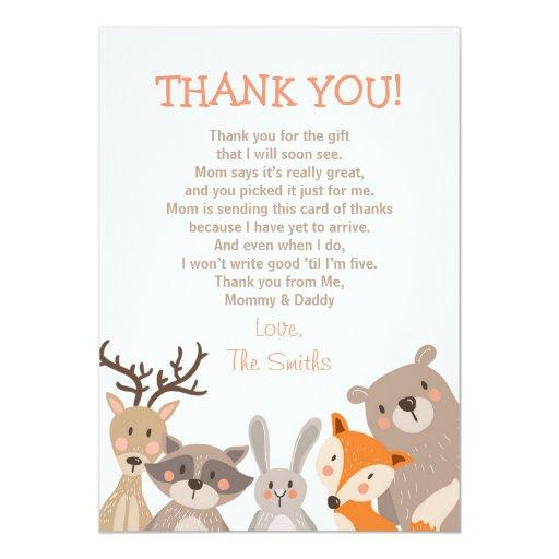 Thank You Quotes For Baby Gift: Woodland Baby Shower Invitations