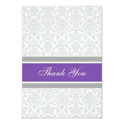 Baby Shower Thank You  Plum Gray Damask