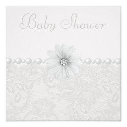Baby Shower Vintage Paisley Lace, Flowers & Pearls