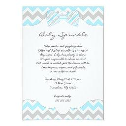 Baby Sprinkle Blue Bow tie baby shower invites