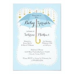 Baby Sprinkle Boy Shower Blue Umbrella Invitations