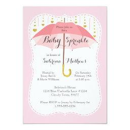 Baby Sprinkle Girl Shower Pink Umbrella Invitations