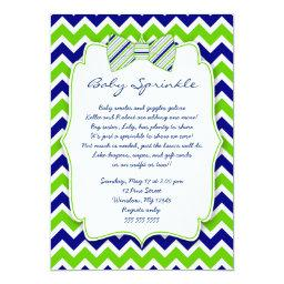 Navy Green Bow tie shower invite