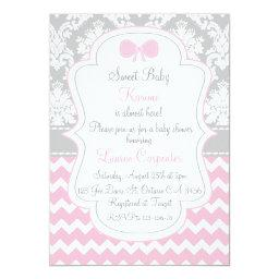 Baby to shower girl  pink chevron and co