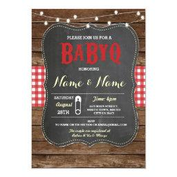 BaByQ BBQ  Red Chalk Wood Invite