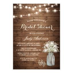 Baby's Breath Mason Jar Rustic Wood Baby Shower