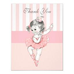 Ballerina Pink Tutu Stripes Flowers Lace Thank You