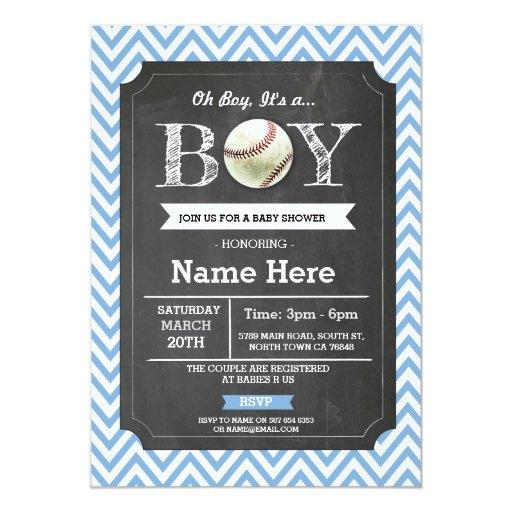 Baseball Blue Boy  Chevron Invite
