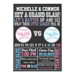 Baseball Gender Reveal Party Invitations Chalkboard