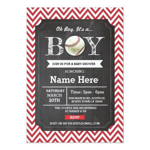 Baseball Red Boy  Chevron Invite