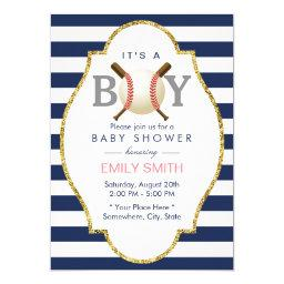 Baseball Themed Boy Navy Blue Stripes Baby Shower