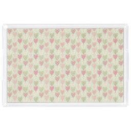 Beautiful Delicate Pastel Color Heart Pattern Acrylic Tray