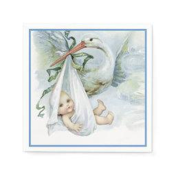 Beautiful Vintage Stork Baby Boy Shower Paper Napkin