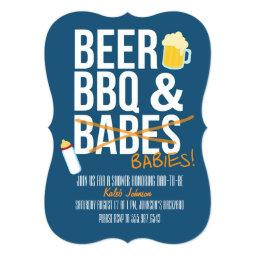 Beer, BBQ & Babes Babies Dad's Baby Shower Invite