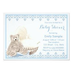 Beige and Blue Teddy Bear Baby Shower