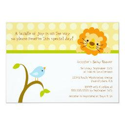 Bird and lion polkadots baby shower