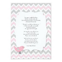 Bird Baby shower thank you notes poem pink gray