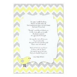 Bird  thank you notes poem yellow