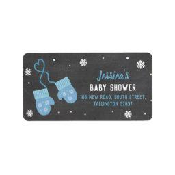Birthday Party Mittens Blue Cold Address Labels