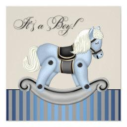 Black and Blue Rocking Horse Baby Shower