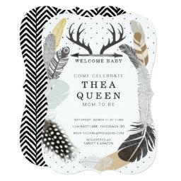 Black Boho Feather  Invite